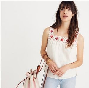 Madewell Embroided Island Linen Tank Blouse